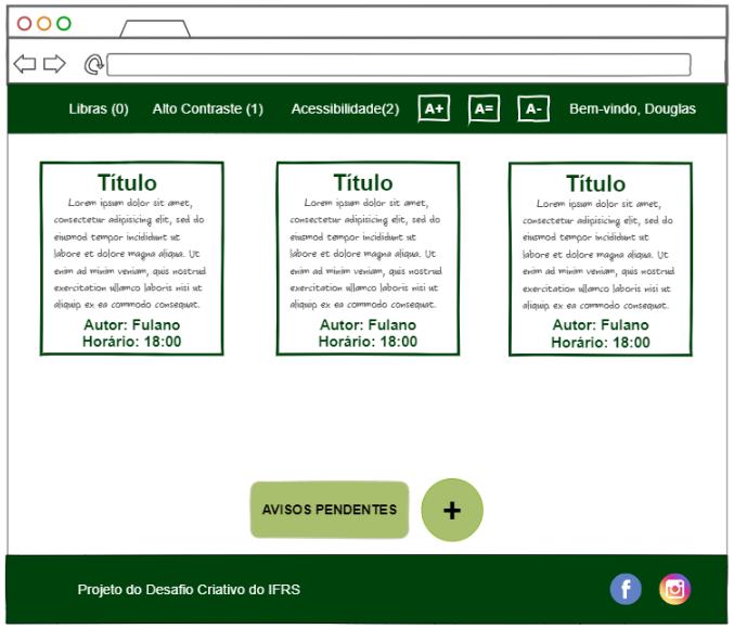 Página web do mural virtual contendo recados