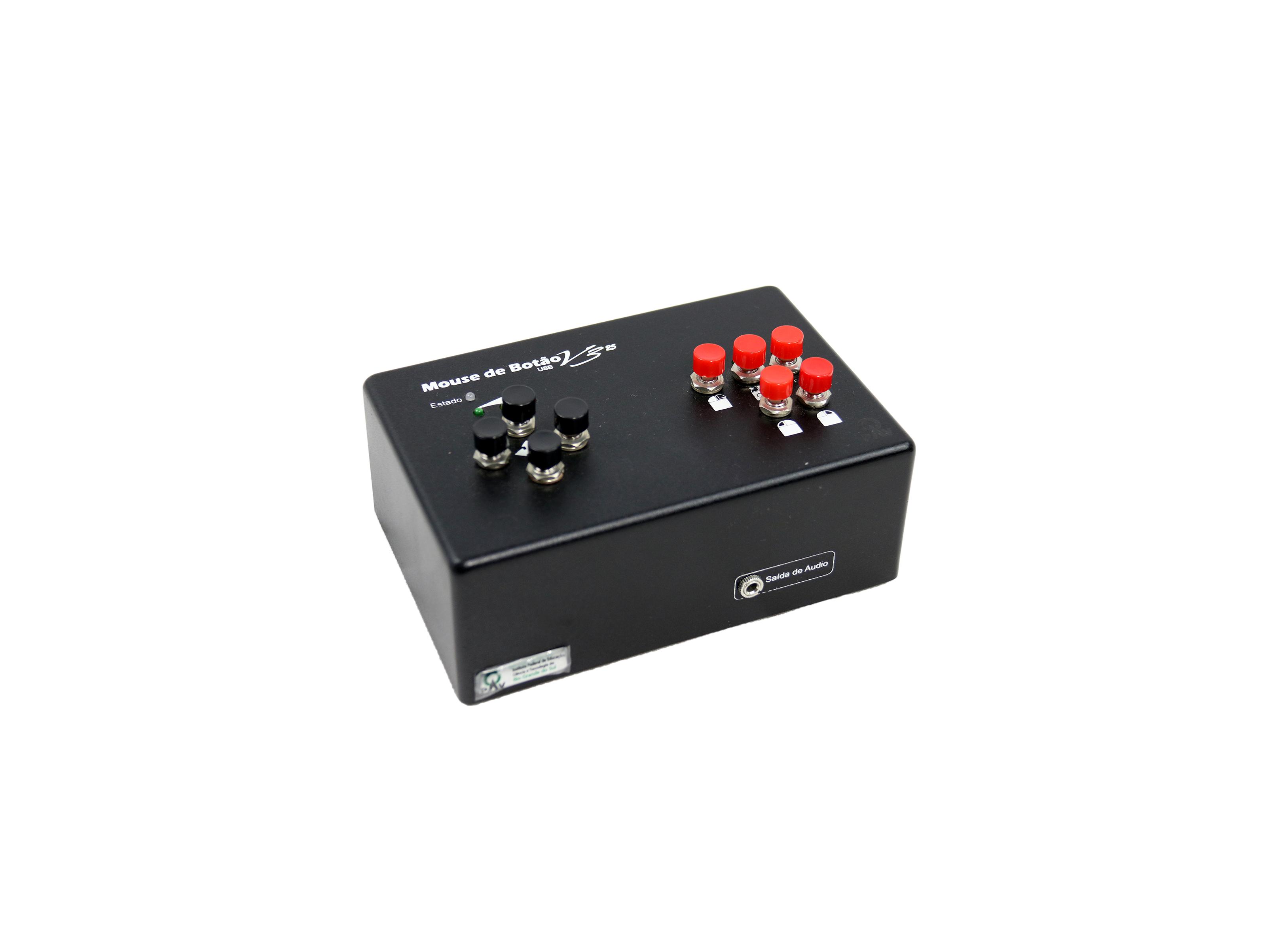 Mouse em formato de caixa retangular contendo 4 botões direcionais e 4 botões de função