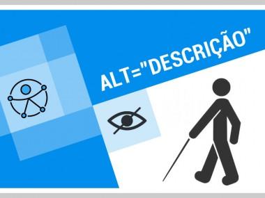 ícone da acessibilidade, de um olho e de um cego com uma bengala e o texto alt=descrição