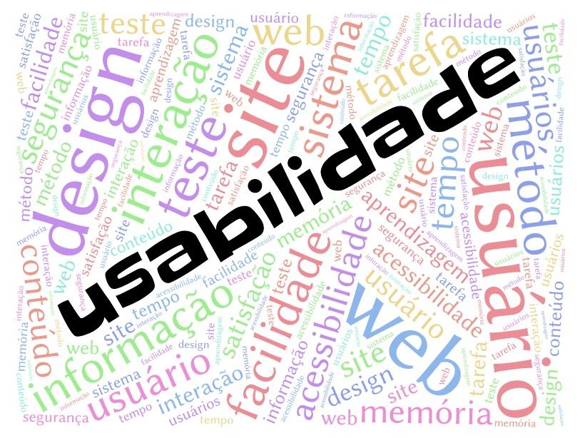 Nuvem de palavras contendo o termo usabilidade no centro em destaque e outras palavras ao redor como, design, site, usuário, web, facilidade