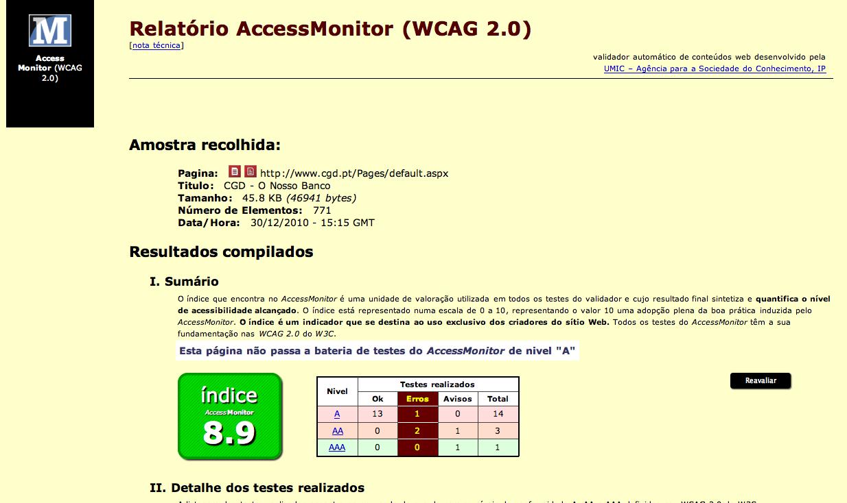 Tela de resultado de avaliação de acessibilidade do accessmonitor