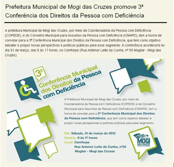 Cartaz prefeitura de Mogi das Cruzes promove 3ª conferência dos direitos da pessoa com deficiência