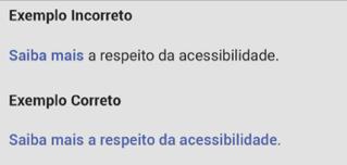 """Link com a descrição incorreta """"Saiba mais"""" e link com a descrição correta """"Saiba mais a respeito da acessibilidade"""