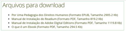 """Lista de links para o download de arquivos. Uma das descrições que aparece é """"Por uma Pedagogia dos Direitos Humanos (FormatoEPUB, Tamanho 2905,2Kb)."""