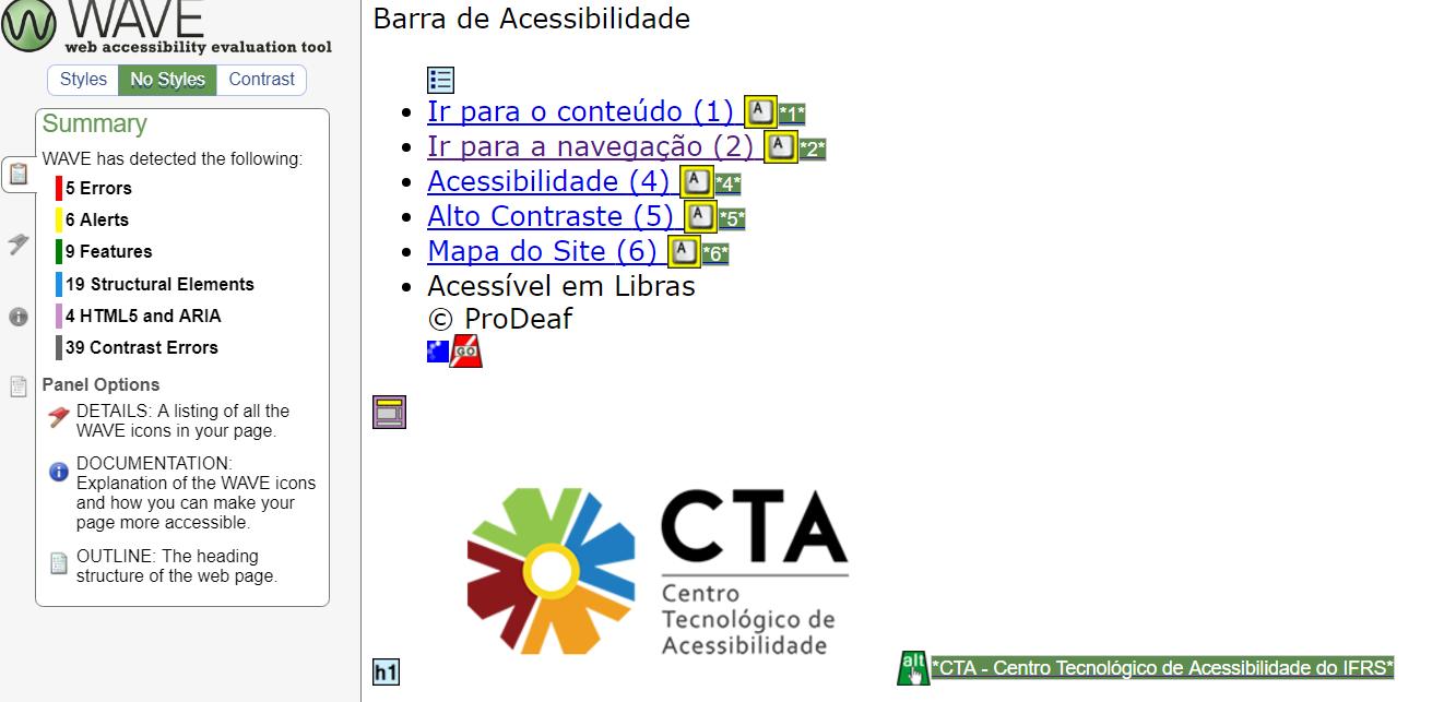 Página do CTA - Centro Tecnológico de Acessibilidade com as folhas de estilo desabilitadas pelo WAVE