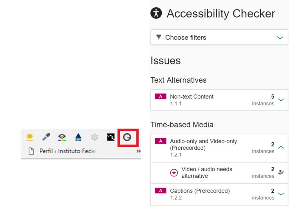 Ícone do Siteimprove Accessibility Checker selecionado na barra de ferramentas do navegador e resultado da avaliação de acessibilidade realizado por ele.