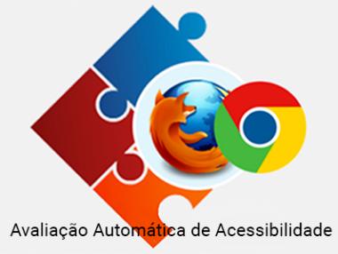 Logo dos navegadores Chrome e Firefox com o dizer Avaliação Automática de Acessibilidade