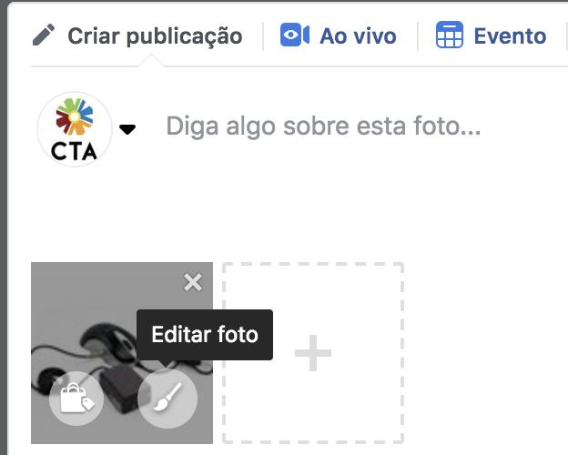 Imagem inserida no Facebook sendo focalizada e aparecendo a opção Editar Foto