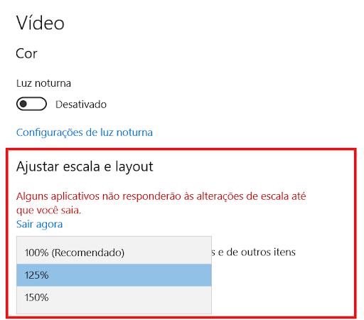 Janela de configuração do sistema, aba vídeo, opções de ajuste de escala e layout (100%, 125% e 150%)