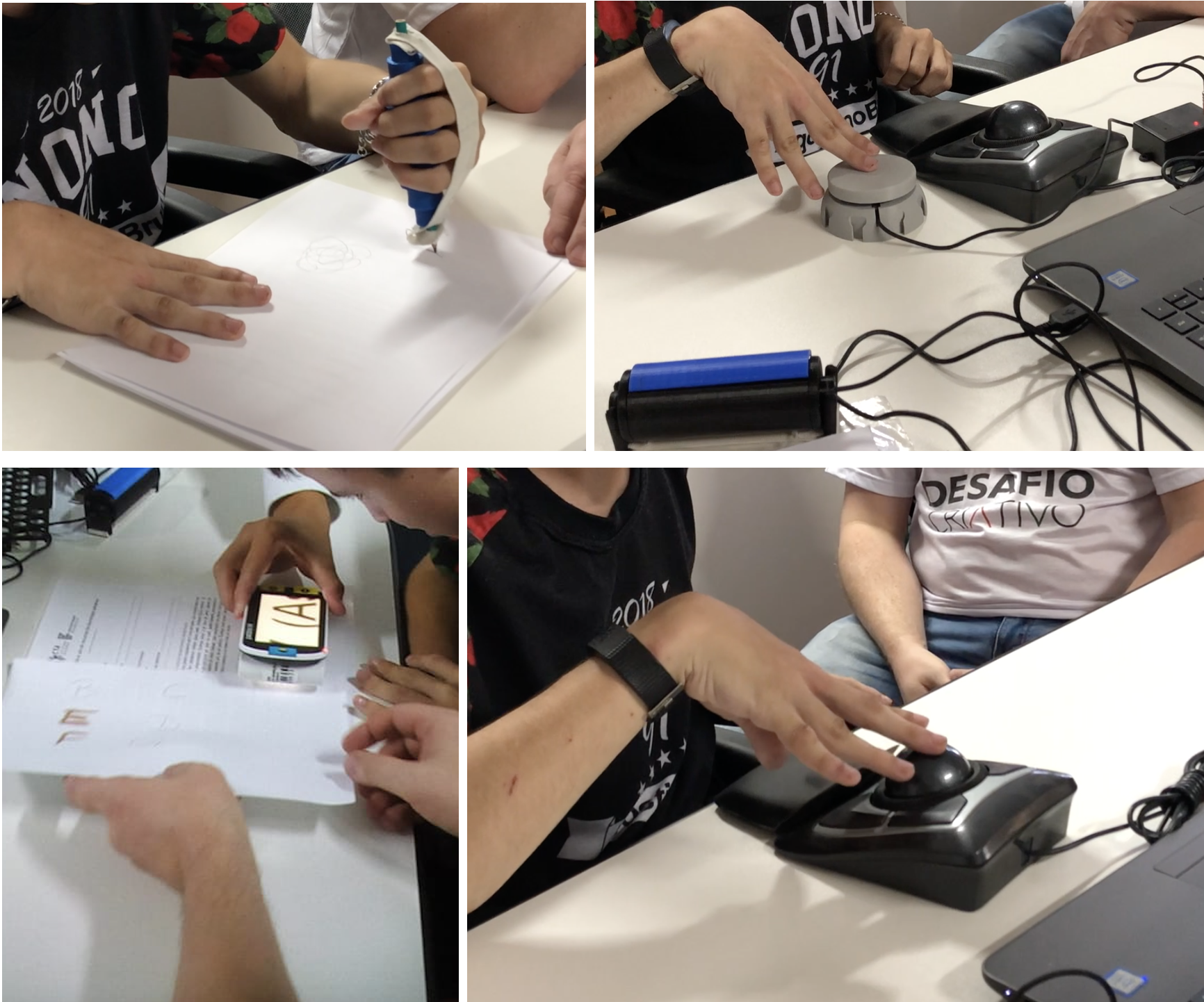 Aluno experimentando diferentes recursos de tecnologia assistiva, como facilitador de lápis, mouse adaptado, acionador e lupa eletrônica