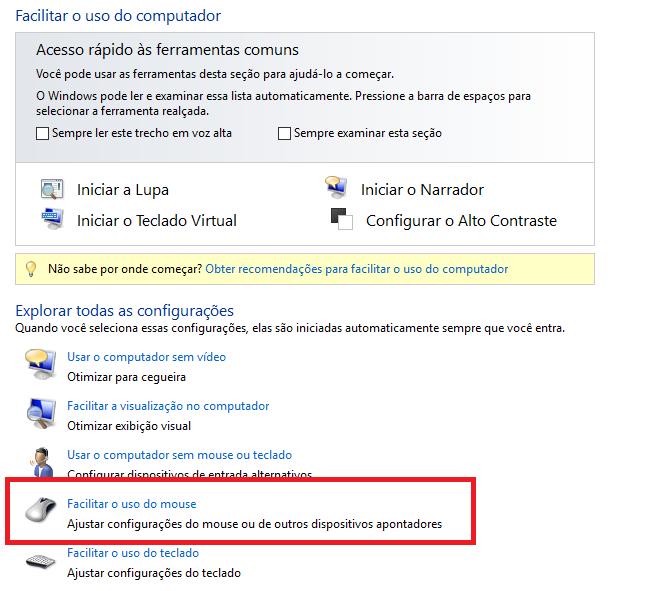 Janela Central de Facilidades de Acesso, opção facilitar o uso do mouse selecionada.