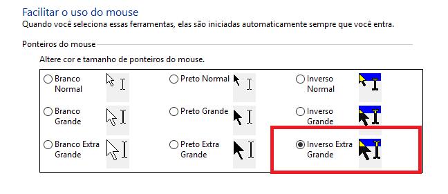 Seção facilitar o uso do Mouse, opção Inverso Extra Grande selecionada.