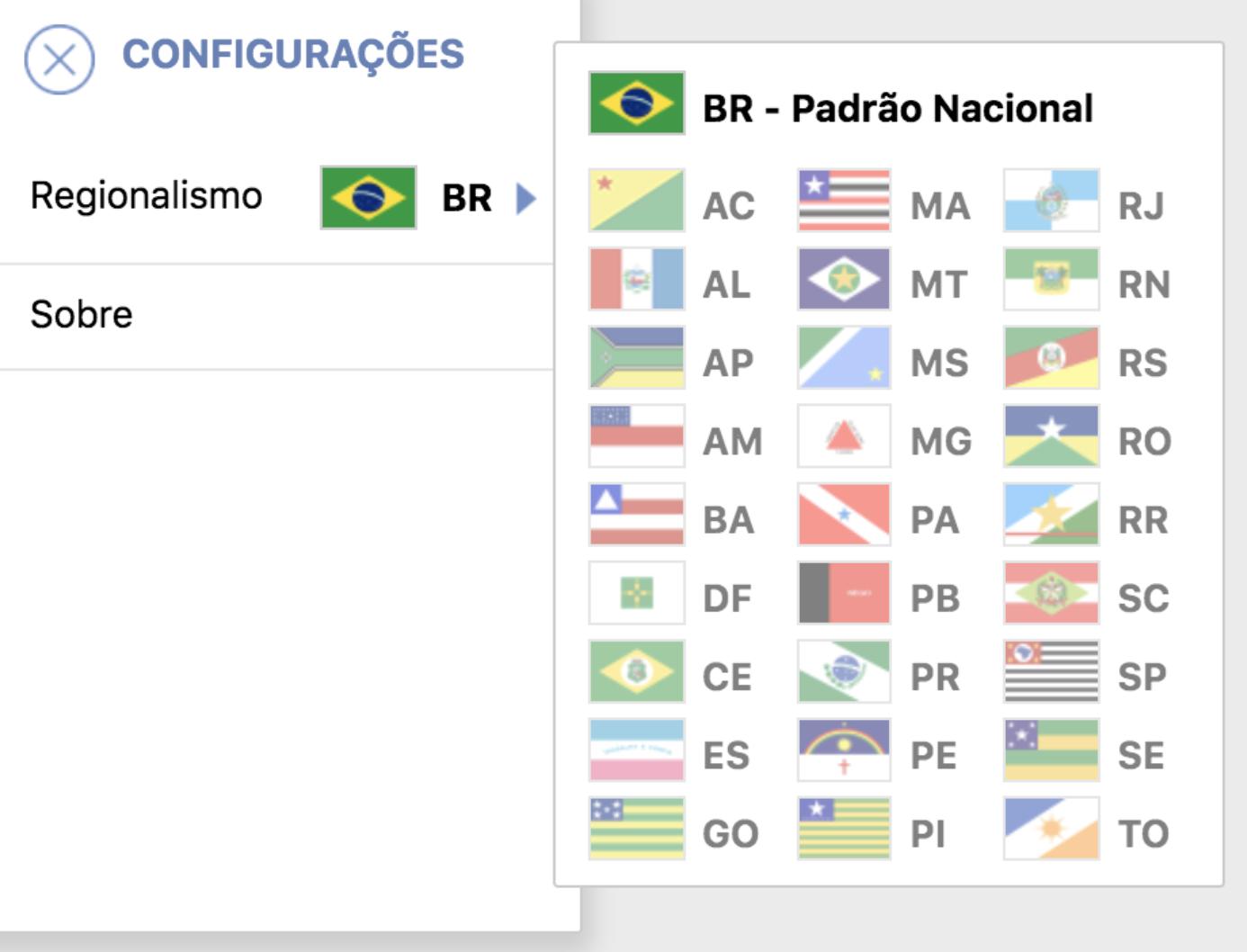 """Opções dos estados brasileiros na configuração de """"Regionalismo"""" do VLibras"""