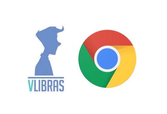 Logo do VLibras e Google Chrome