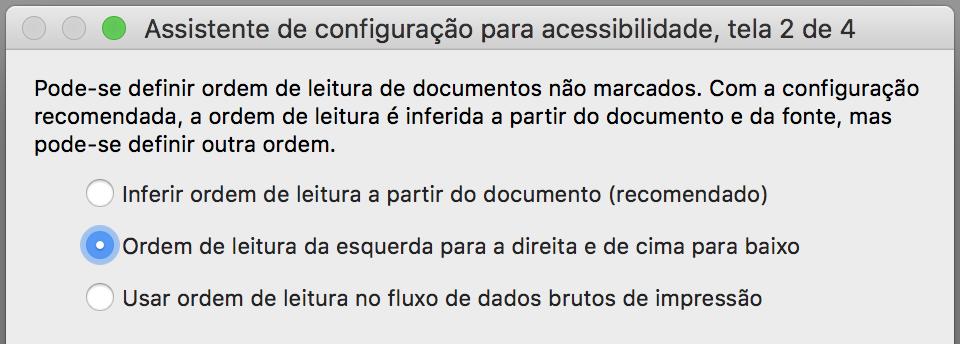 """Janela de configuração com a opção """"Ordem de leitura da direita para esquerda e de cima para baixo"""" marcada."""