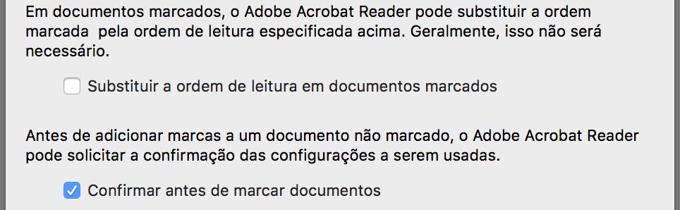 """Janela de configuração com a opção """"Substituir a ordem de leitura em documentos marcados"""" desmarcada e a opção """"Confirmar antes de marcar documentos"""" marcada."""