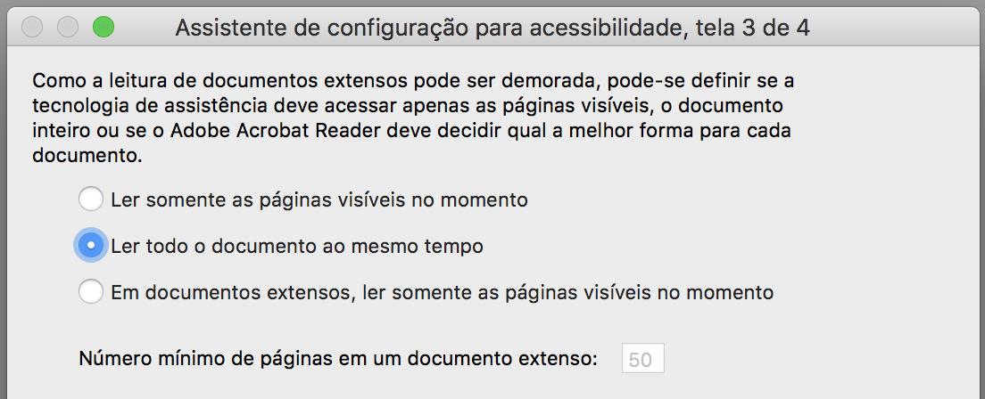 """Janela de configuração com a opção """"Ler todo o documento ao mesmo tempo"""" marcada."""