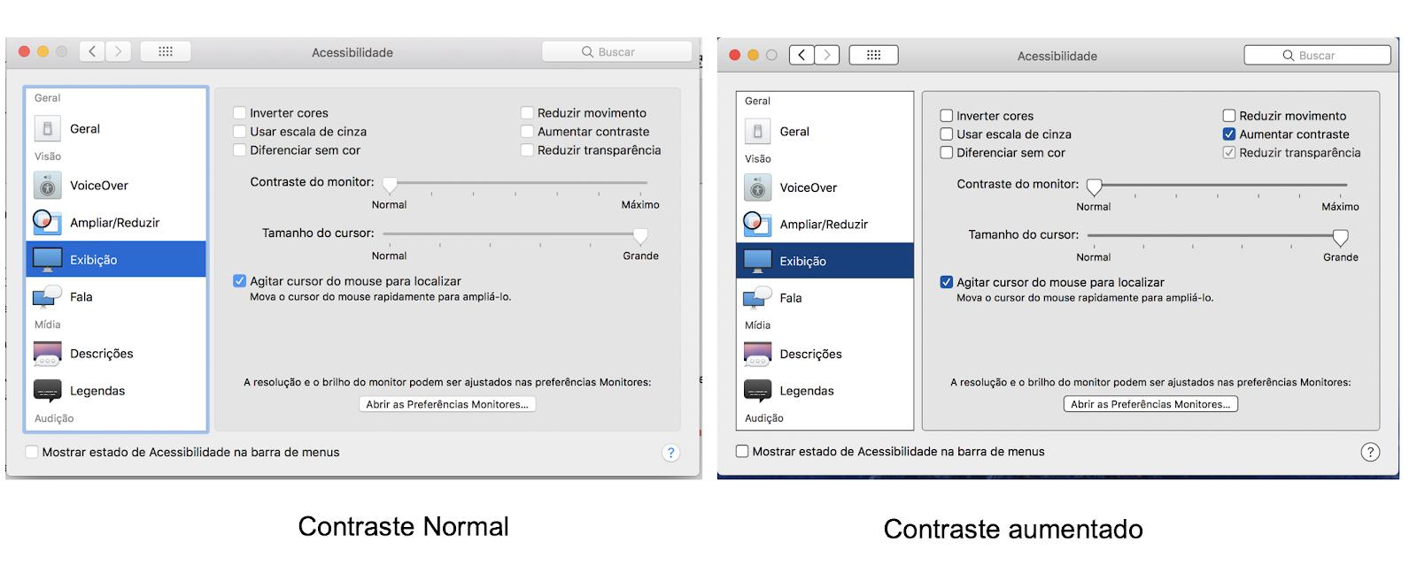Janelas do sistema comparando a exibição no contraste normal e no contraste aumentado.