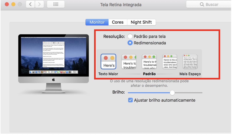 """Janela de """"Monitores"""", com a aba """"Monitor"""" selecionada e a opção de """"Resolução""""marcada como """"Redimensionara, """"Texto Maior""""."""