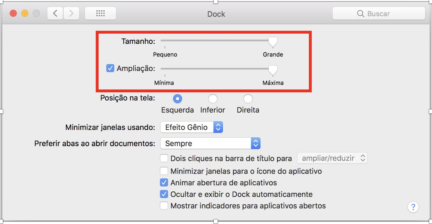 """Janela com as configurações do 'Dock"""", com foco nas opções """"Tamanho"""" e """"Ampliação""""."""