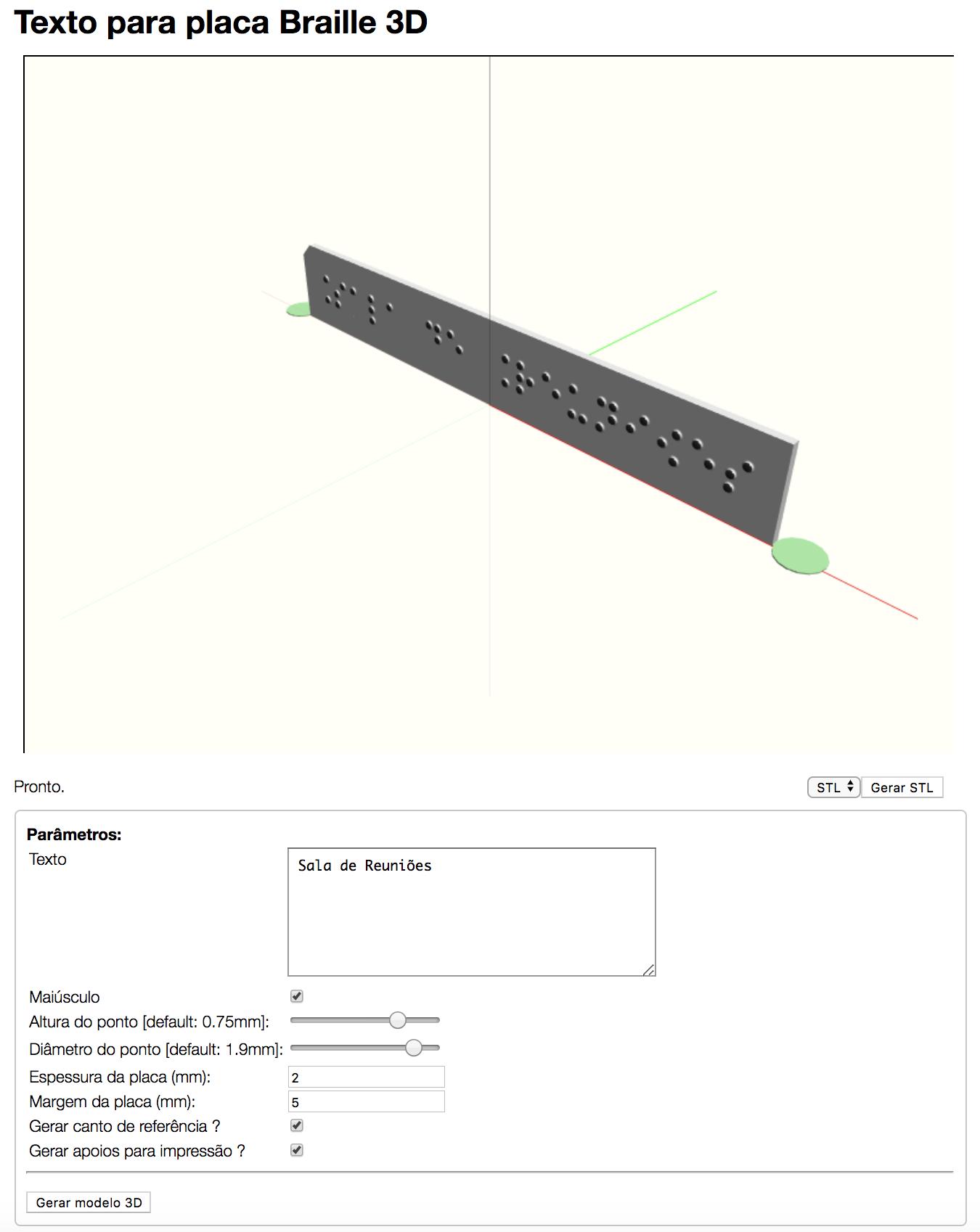 Interface da ferramenta contendo o campo para inserir o texto, os parâmetros para impressão da placa e a área onde a placa é gerada
