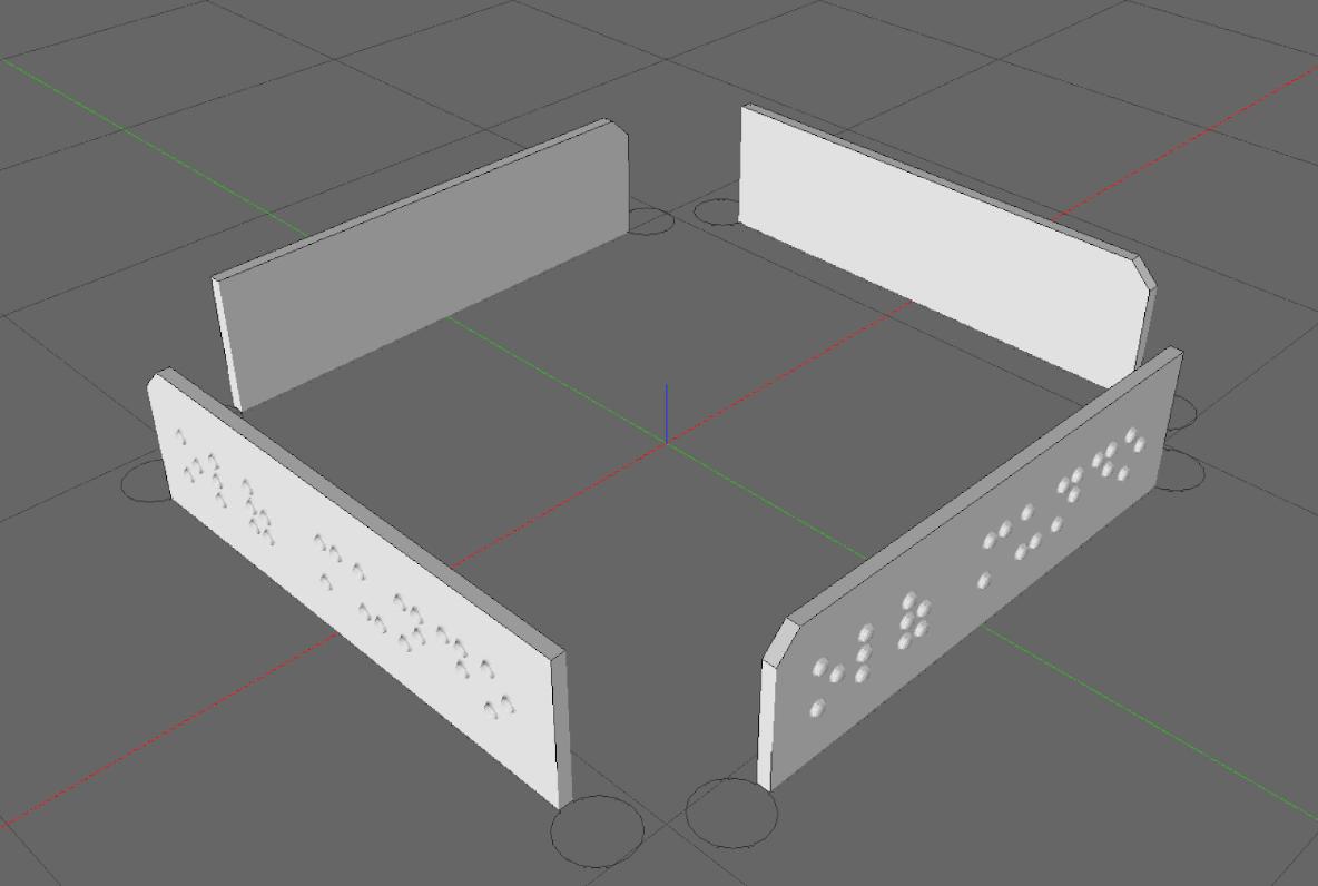 4 placas posicionadas com o braille para a parte externa