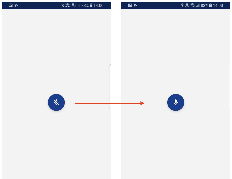 Duas telas, uma mostrando o ícone do microfone desativado e a outra mostrando o mesmo ícone ativado