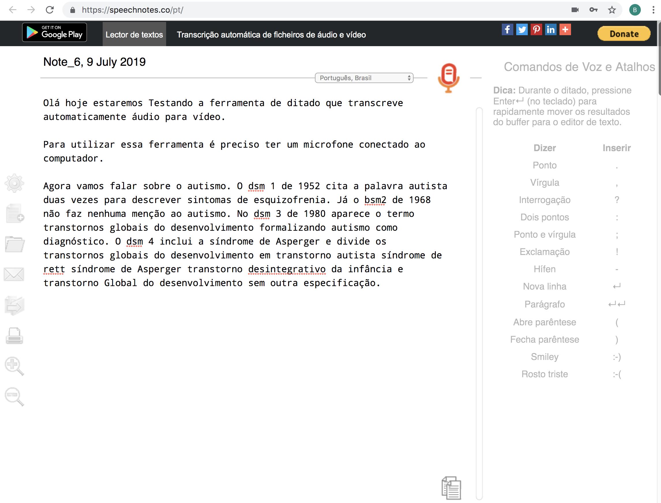 Interface da ferramenta SpeechNotes contendo texto ditado na caixa de texto