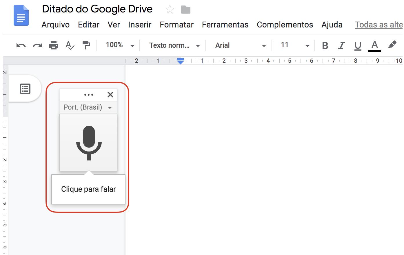 Interface do Documentos Google mostrando o botão com o ícone de microfone para ativa o ditado