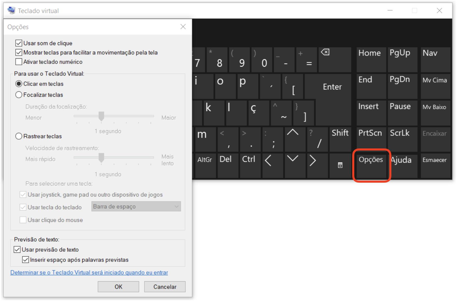 Captura de tela mostrando as opções do teclado virtual