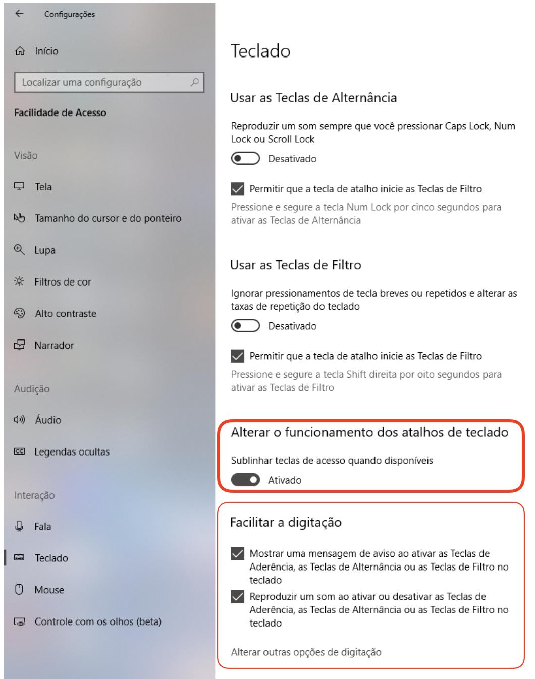 captura mostrando a opção sublinhar teclas de acesso ativada
