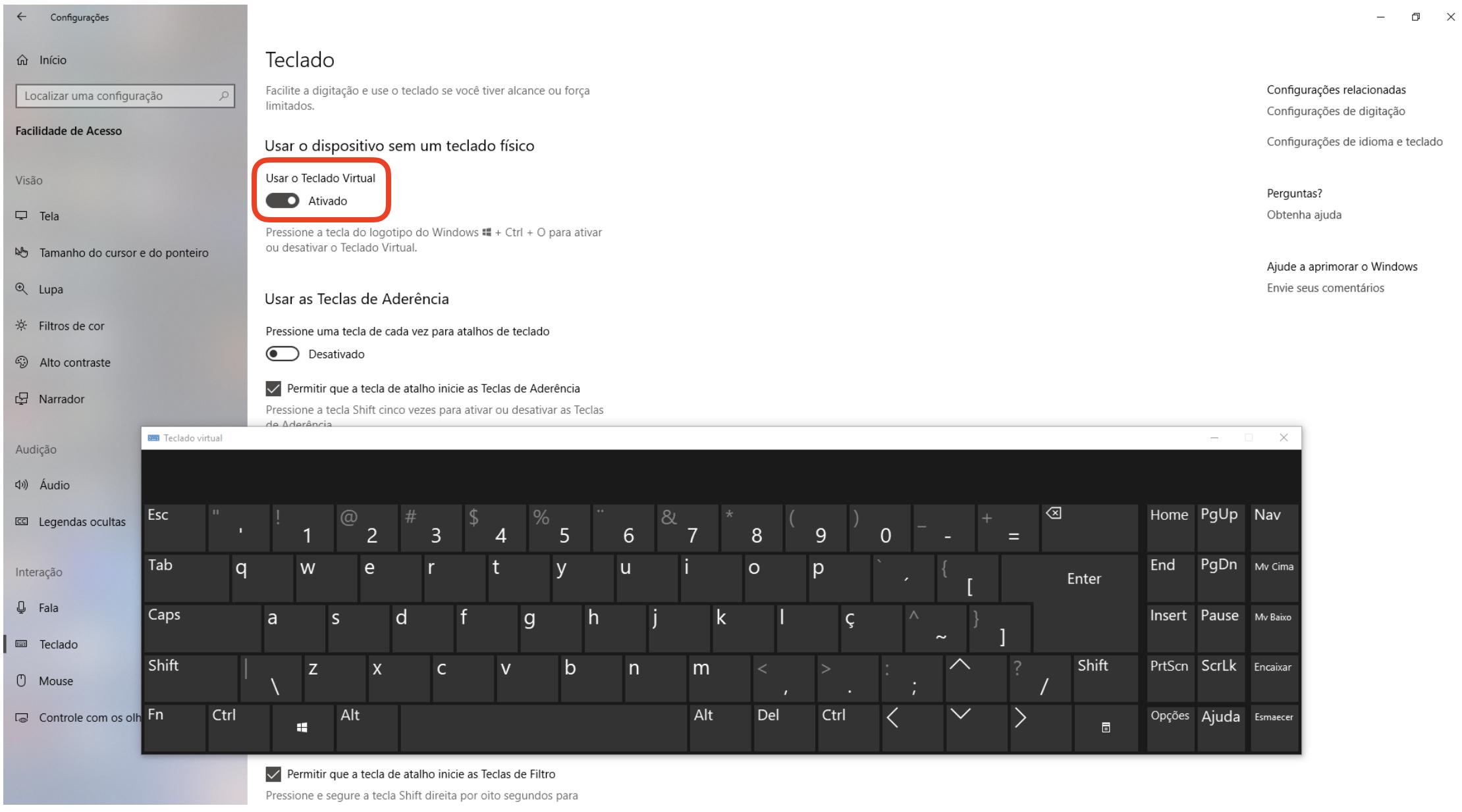 teclado virtual ativado aparecendo na tela